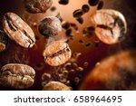 macro photo of coffee splash... | Shutterstock . vector #658964695