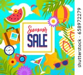 summer sale vector banner... | Shutterstock .eps vector #658972279