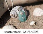 unique handmade aqua marine sea ... | Shutterstock . vector #658973821