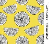 lemons pattern.  colorful... | Shutterstock .eps vector #658989394