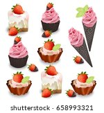 set of delicious sweets and... | Shutterstock .eps vector #658993321