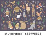 vector hand drawn cute forest... | Shutterstock .eps vector #658995835