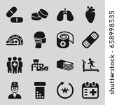 healthcare icons set. set of 16 ... | Shutterstock .eps vector #658998535