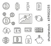 bitcoin  cryptocurrency icons ... | Shutterstock .eps vector #659002255