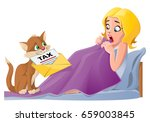 early morning. cute cat brings... | Shutterstock .eps vector #659003845