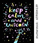keep calm and unicorn   quote.... | Shutterstock .eps vector #659004139