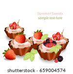 delicious sweets and desserts... | Shutterstock .eps vector #659004574