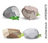 Four Boulder Stones With Green...