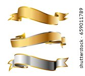 silver and gold ribbons. vector ... | Shutterstock .eps vector #659011789
