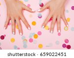stylish trendy female pink and... | Shutterstock . vector #659022451