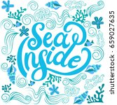 sea inside lettering blue and... | Shutterstock .eps vector #659027635