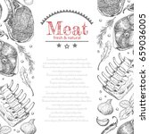 background with different meat... | Shutterstock .eps vector #659036005