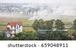 vietnamese farmers burning the... | Shutterstock . vector #659048911