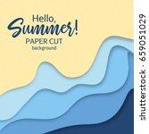 hello summer.paper art cartoon...   Shutterstock .eps vector #659051029