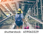 young woman traveler in... | Shutterstock . vector #659063329