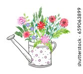 hand drawn watering can with... | Shutterstock .eps vector #659063899