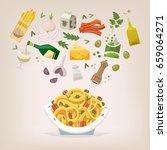 famous dish of italian cuisine. ... | Shutterstock .eps vector #659064271