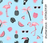 tropical trendy pattern with... | Shutterstock .eps vector #659065939
