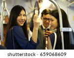 business team take train subway ... | Shutterstock . vector #659068609