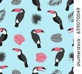 toucan pattern. seamless vector ...   Shutterstock .eps vector #659070049