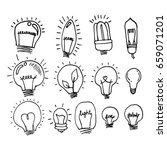 a set of doodle bulbs. hand... | Shutterstock .eps vector #659071201