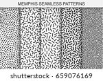 collection of memphis seamless... | Shutterstock .eps vector #659076169
