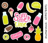 big set of summer stickers.... | Shutterstock .eps vector #659078491