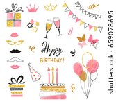 birthday party icon set in pink ...   Shutterstock .eps vector #659078695