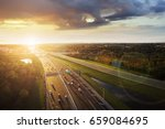 Aerial View Of Sunset Over A...
