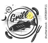 grilled fish on the grid. a... | Shutterstock .eps vector #659084911