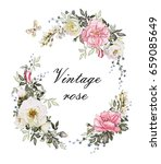 vintage card  watercolor... | Shutterstock . vector #659085649
