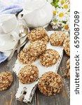 oatmeal cookies with raisins ... | Shutterstock . vector #659087089