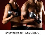 strong young couple working out ... | Shutterstock . vector #65908873