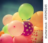 many colorful baloons in the... | Shutterstock . vector #659090245