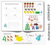 figure four. dot to dot... | Shutterstock .eps vector #659094919