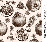 vector pomegranate  hand drawn... | Shutterstock .eps vector #659104021