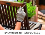 painting and applying... | Shutterstock . vector #659104117