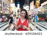 beautiful woman using phone in... | Shutterstock . vector #659106421