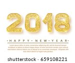 2018 happy new year. gold... | Shutterstock .eps vector #659108221