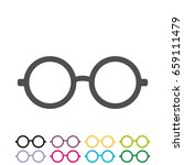 glasses flat style  icon vector ... | Shutterstock .eps vector #659111479