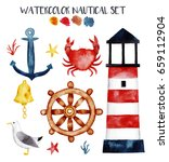 Watercolor Nautical Set With...