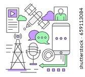 linear social media and... | Shutterstock .eps vector #659113084