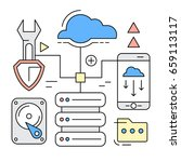 linear style icons. server and... | Shutterstock .eps vector #659113117