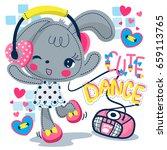 cute rabbit girl wearing... | Shutterstock .eps vector #659113765