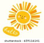 funny retro smiling sun... | Shutterstock .eps vector #659116141