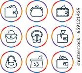 purse icons set. set of 9 purse ... | Shutterstock .eps vector #659121439