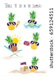 summer time   pineapple on... | Shutterstock .eps vector #659124511