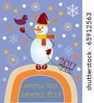 greeting card with a snowman | Shutterstock .eps vector #65912563