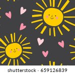 smiling sun and hearts pattern. ... | Shutterstock .eps vector #659126839