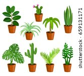 potted flowers  isolated.... | Shutterstock .eps vector #659131171